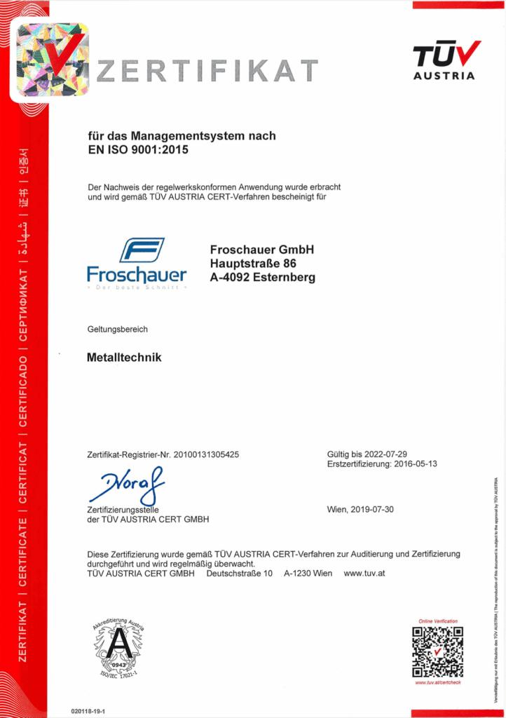 Zertifikat Froschauer GmbH